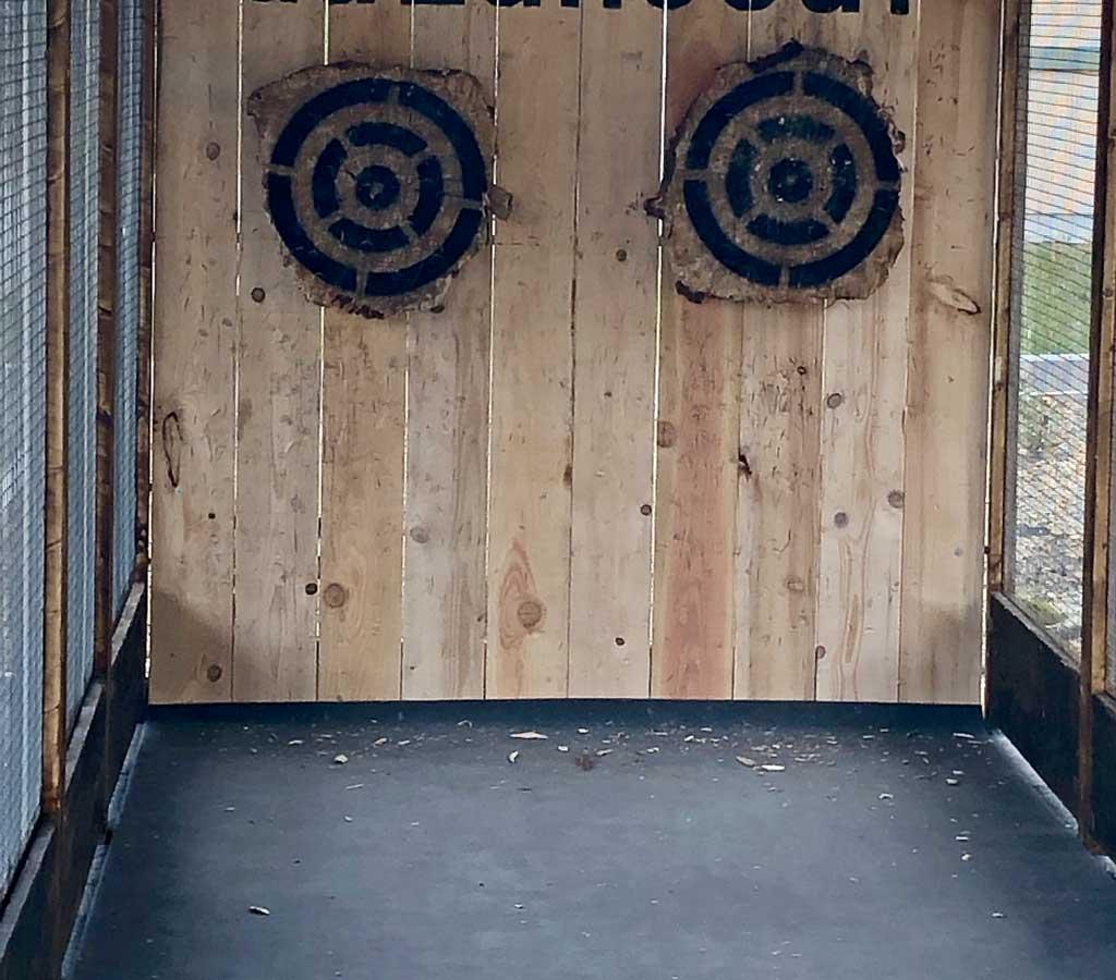 Structure avec 2 cibles lancer de hache