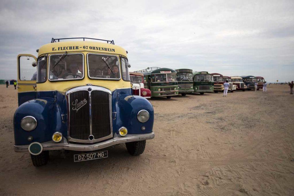 Les bus des années 50 et 60  pour les déplacements des 400 participants tout au long de la journée