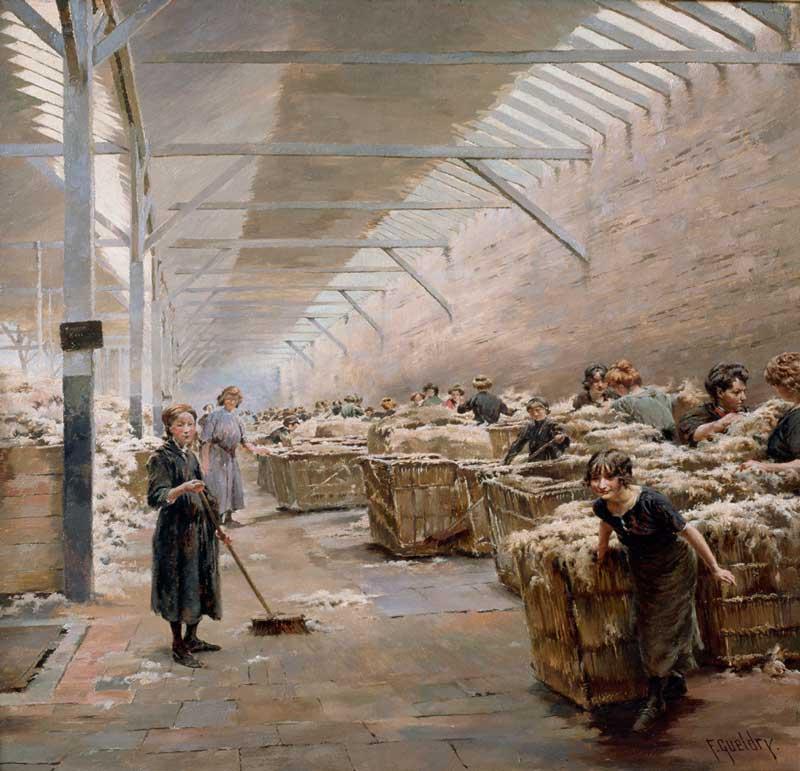 Scène de triage de la laine à Roubaix