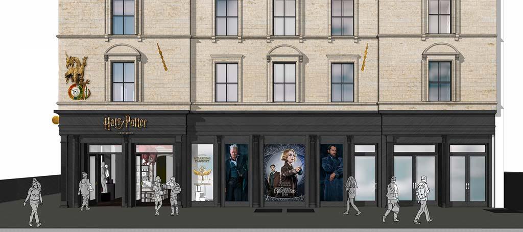 Vue d'artiste de la nouvelle boutique Harry Potter à New York. (Photo Warner Bros.)
