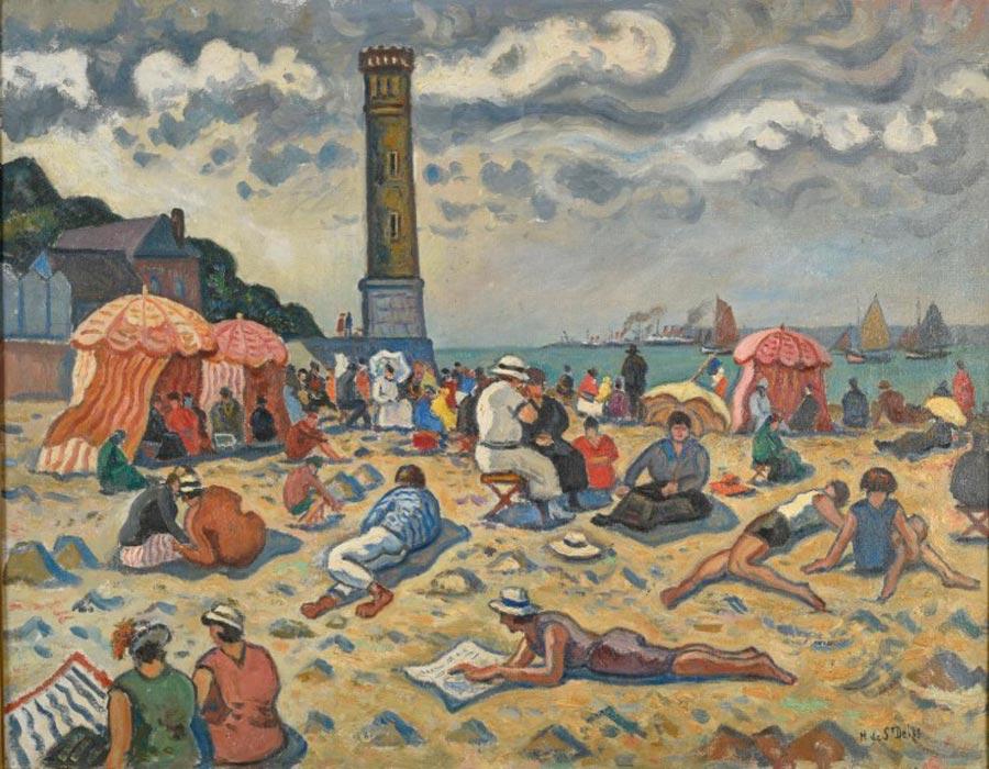 La plage et le vieux phare d'Honfleur Henri de Saint-Delis - Musée Eugène Boudin