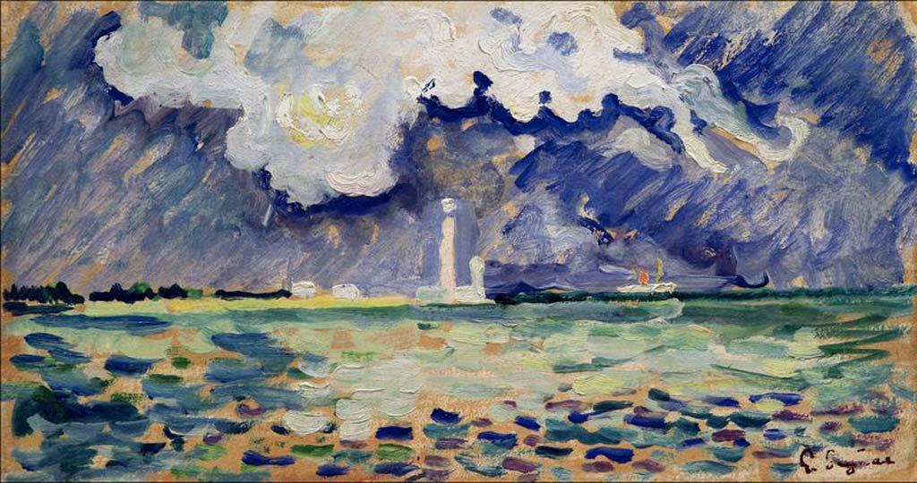 Paul Signac, Le phare de Gatteville, huile sur carton, v. 1934, musée Thomas Henry