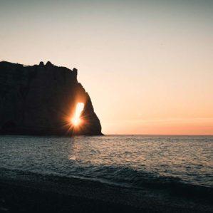 Coucher de soleil à Étretat