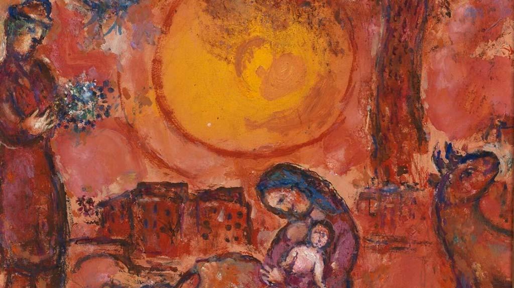 Le tableau Vierge, lune et colombe au coucher de soleil de Marc Chagall. ©Yohann DESLANDES/Métropole Rouen Normandie / Marc Chagall